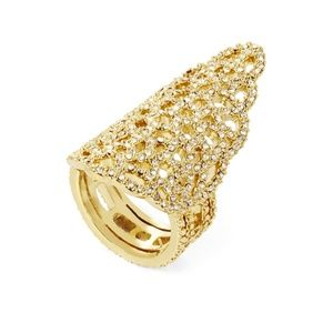 BCBG Ring Pave Filigree Pointed Gold Toned Stone